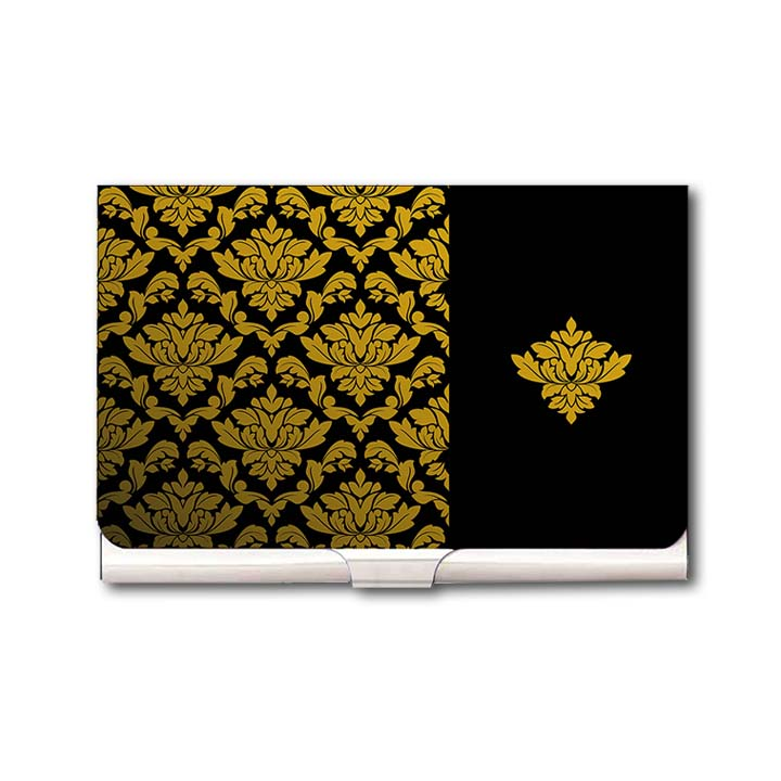 Royal Golden Pattern Business Card Holder by Heartzy - Heartzy