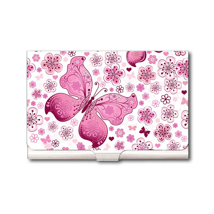 Beautiful Pink Butterfly Business Card Holder by Heartzy - Heartzy