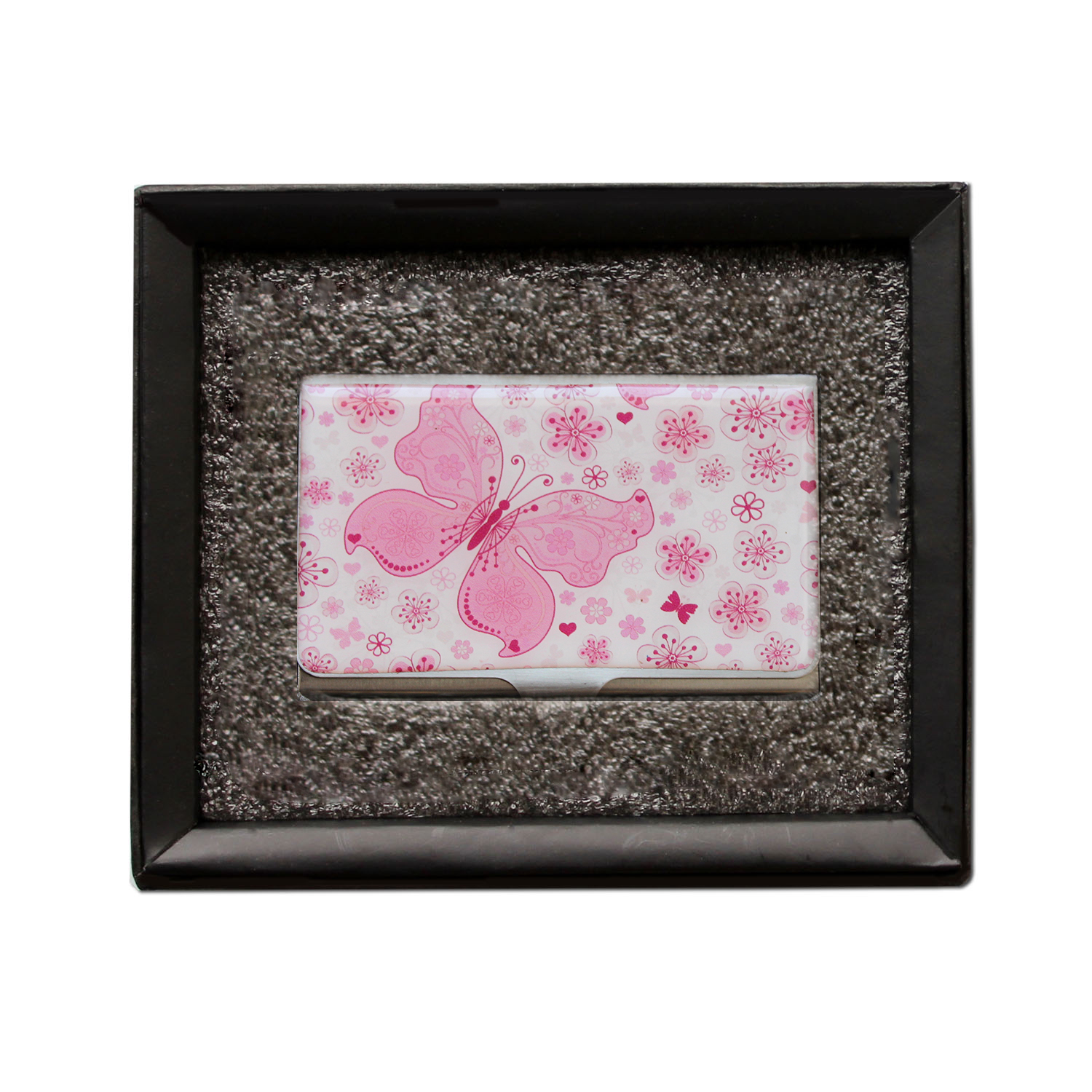 Beautiful Pink Butterfly Business Card Holder by Heartzy Heartzy
