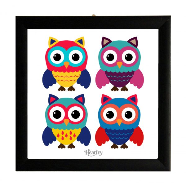 Cute Owls Square Framed Poster