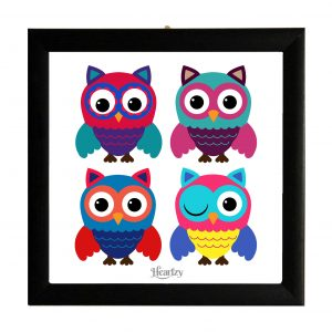 Owl Wall Art Wooden Glass Framed Owl Poster by Heartzy