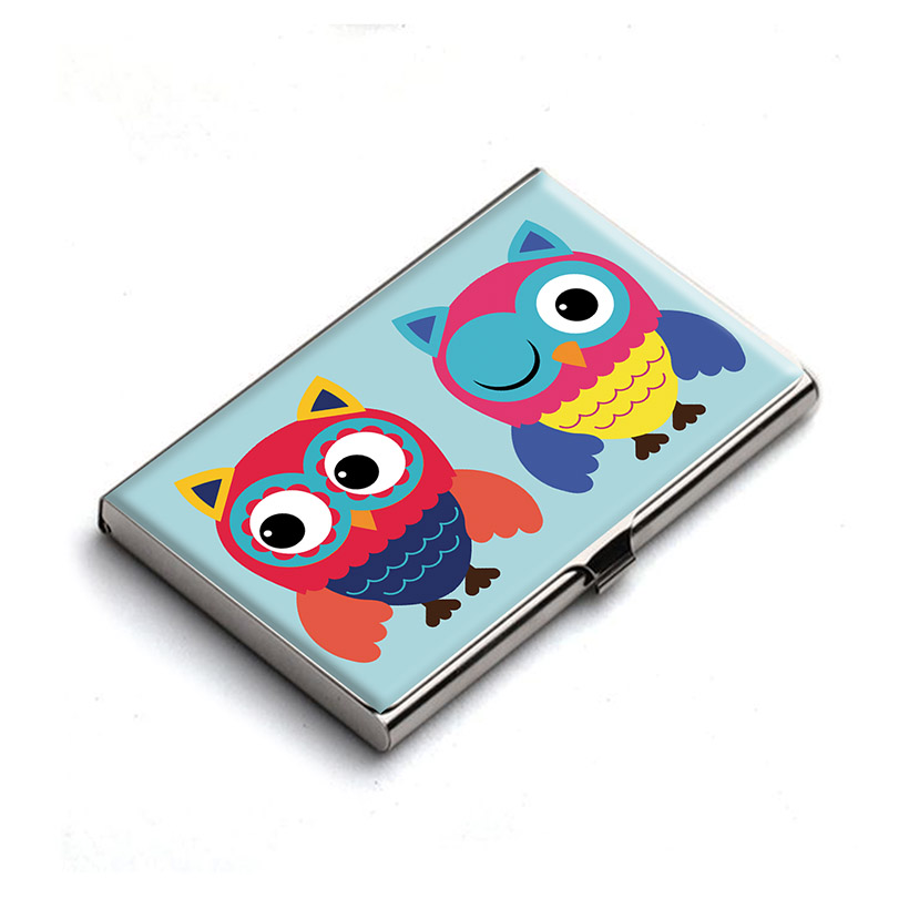 Cheerful Cute Owls Business Card Holder by Heartzy - Heartzy