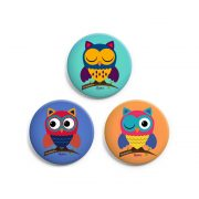 Set of 3 Owl Badges